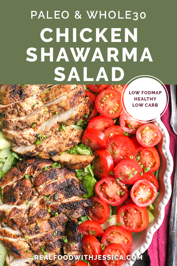 This Paleo Whole30 Chicken Shawarma Salad is healthy and so delicious! A simple marinade infuses the chicken with wonderful flavors and is grilled to perfection. Gluten free, dairy free, low carb, and low FODMAP.