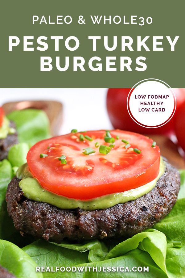 These Paleo Whole30 Pesto Turkey Burgers are easy to make and so delicious! A simple pesto gets mixed with the meat and they are grilled to perfection. Gluten free, dairy free, low carb and low FODMAP.