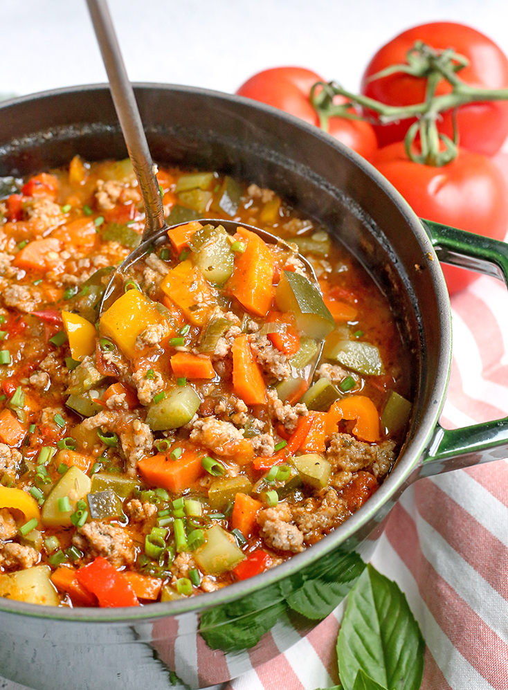 This Paleo Whole30 Sausage Summer Vegetable Soup is easy to make and great for using all the summer veggies. Hearty, tasty, and healthy. Gluten free, dairy free, and low FODMAP.