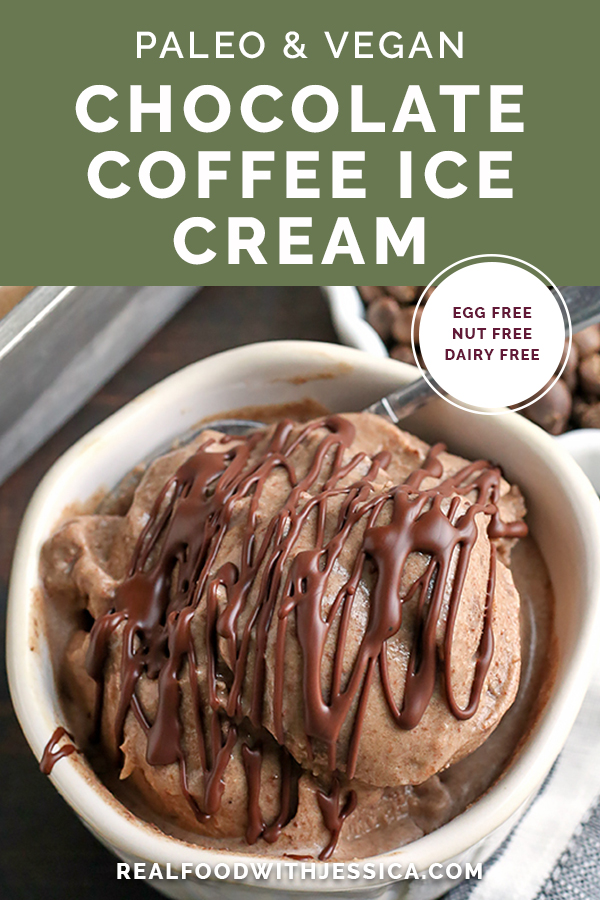 This Paleo Chocolate Coffee Ice Cream is rich, creamy, and so delicious! Easy to make and vegan, gluten free, dairy free, and naturally sweetened.