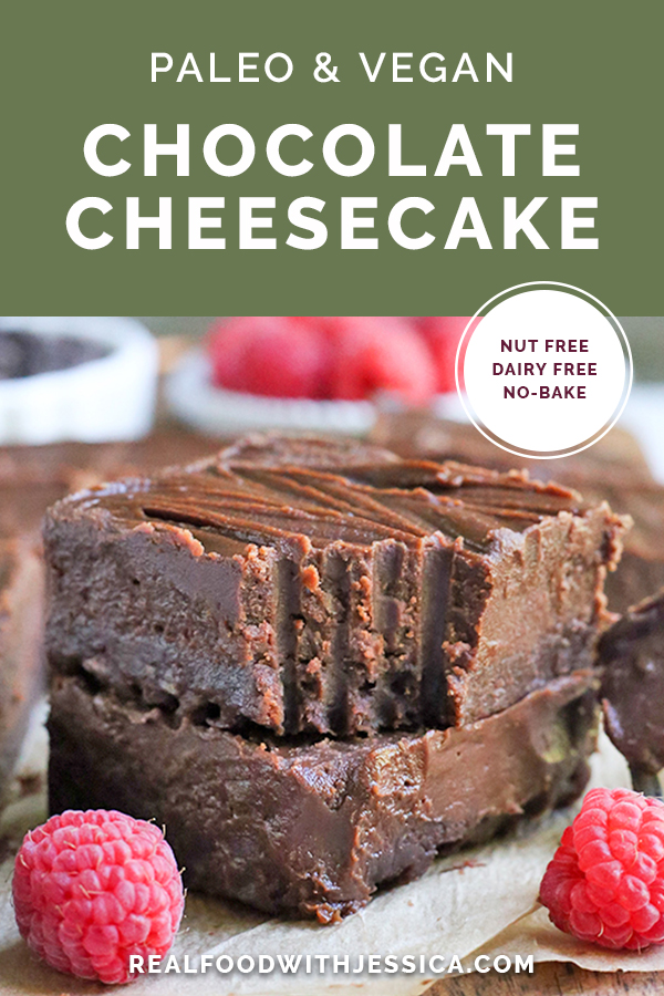 This Paleo Nut Free Chocolate Cheesecake is dairy free, but still creamy and delicious! A no-bake treat that doubles up on the chocolate and sure to satisfy that sweet craving. It's gluten free, vegan, and naturally sweetened.