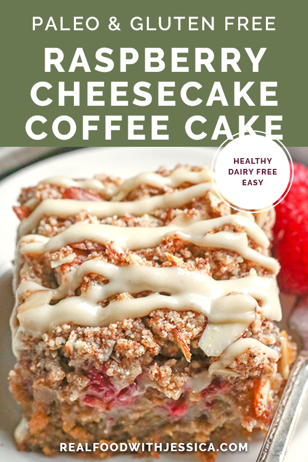 This Paleo Raspberry Cheesecake Coffee Cake tender, moist, and full of fresh raspberries. Topped with a dairy free cheesecake drizzle makes it even more amazing! It's gluten free, dairy free and naturally sweetened.