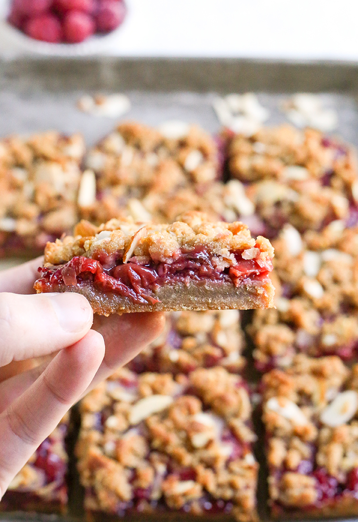 These Paleo Cherry Pie Crumb Bars are so simple and delicious! A thick shortbread crust, fresh fruit filling and irresistible crumb topping. These layered bars are vegan, gluten free, dairy free, and naturally sweetened.