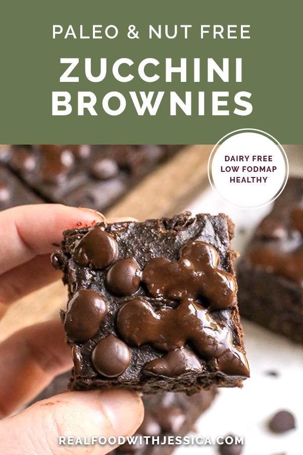 These Paleo Nut-Free Zucchini Brownies are fudgy, sweet and so delicious! They are gluten free, dairy free, naturally sweetened and low FODMAP.