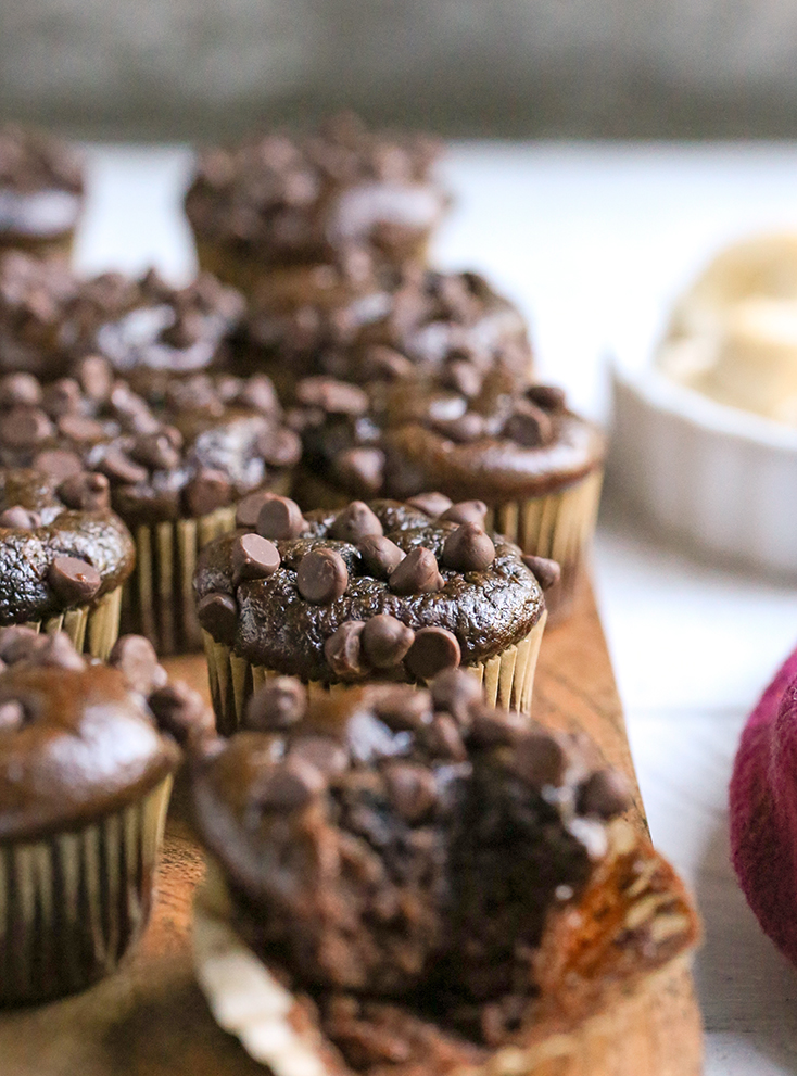 These Paleo Flourless Mini Chocolate Muffins are quick to make and so tasty. They are gluten free, dairy free, nut free, and naturally sweetened.