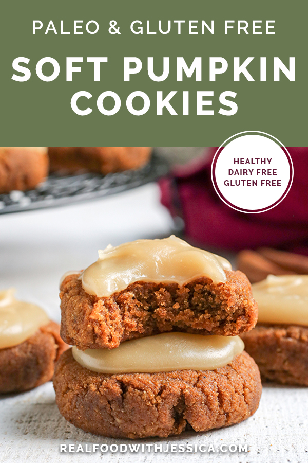 These Paleo Soft Pumpkin Cookies are easy to make and incredibly delicious! A thick pumpkin cookie, spiced just right and topped with a sweet frosting. They are gluten free, dairy free, and naturally sweetened.