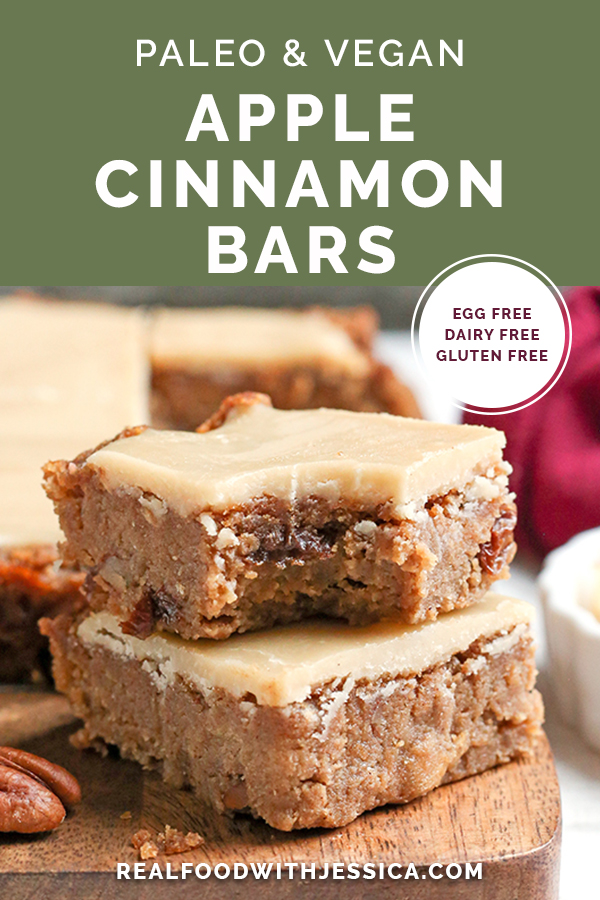 These Paleo Vegan Apple Cinnamon Bars are so delicious and simple to make. A moist cookie base with a sweet frosting. They are gluten free, dairy free, egg free, and naturally sweetened.