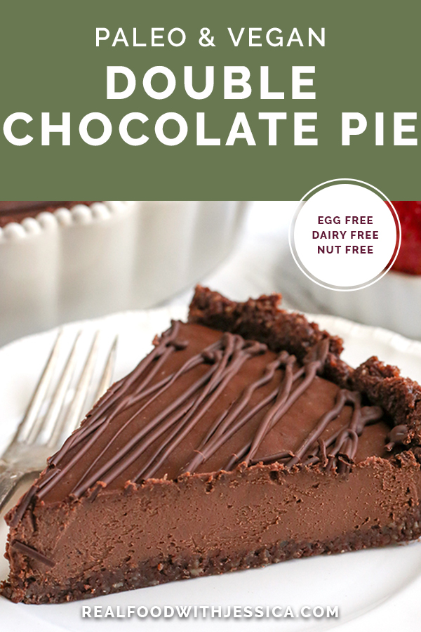 This Paleo Vegan Double Chocolate Pie is rich, easy, and so delicious! No-bake and a chocolate lovers dream. It's gluten free, dairy free, egg free, nut free, and naturally sweetened, but everyone will love it!