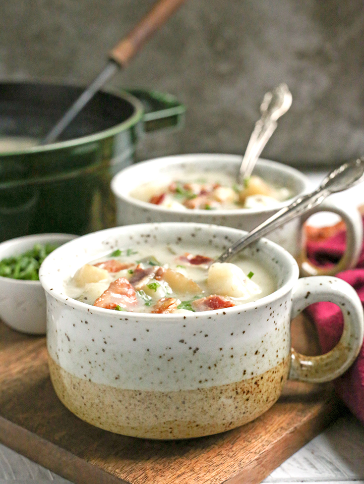 This Paleo Whole30 Loaded Baked Potato Soup is creamy, hearty, and makes a great side dish. Gluten free, dairy free, low FODMAP and sure to become a favorite!