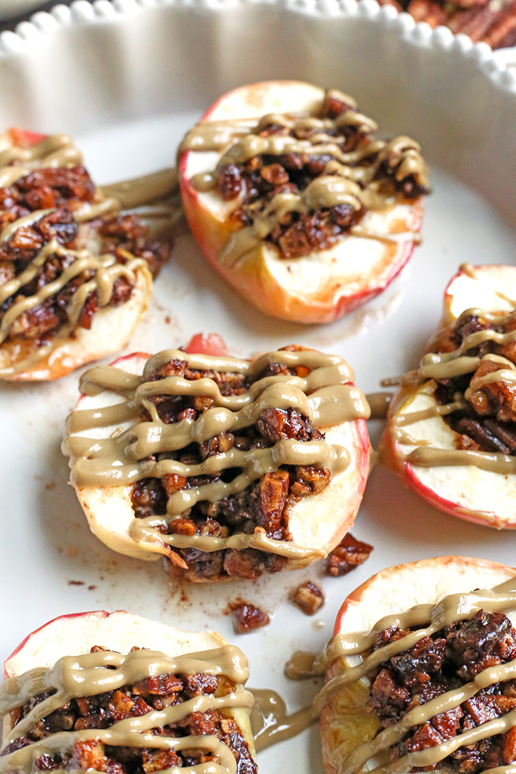 These Paleo Baked Apples with Crumble are easy to make and so delicious! Tender apples with a crunchy, sweet topping. They're gluten free, dairy free, vegan and naturally sweetened.