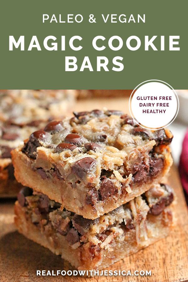 These Paleo Magic Cookie Bars are a healthier version of the classic dessert. A shortbread crust topped with shredded coconut, chopped pecans, chocolate chips and a homemade sweetened condensed milk poured on top. They are gluten free, dairy free, naturally sweetened with a vegan option.