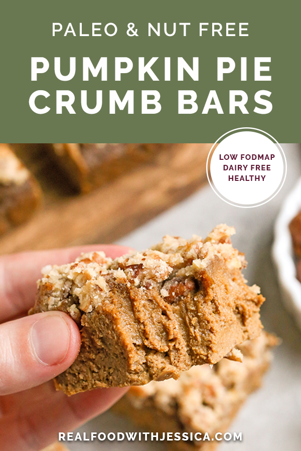 These Paleo Pumpkin Pie Crumb Bars are thick, spiced just right, and so delicious! With just a few ingredients these bars can be whipped up. They're gluten free, dairy free, naturally sweetened, and low FODMAP.