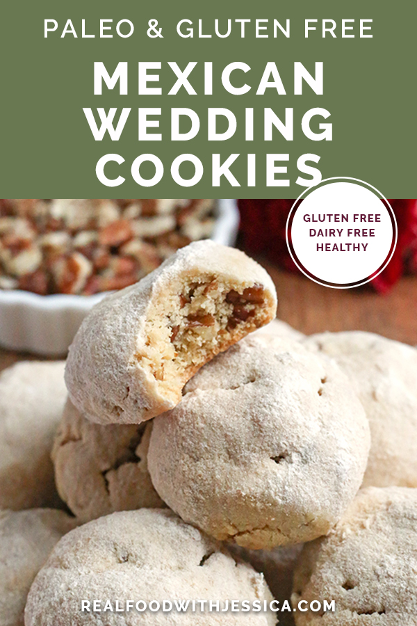 These Paleo Mexican Wedding Cookies also known as snow ball cookies or Russian Tea Cakes, are tender, sweet and so delicious! A tender cookie, packed with pecans, rolled in homemade powdered sugar. They are gluten free, dairy free, and naturally sweetened.