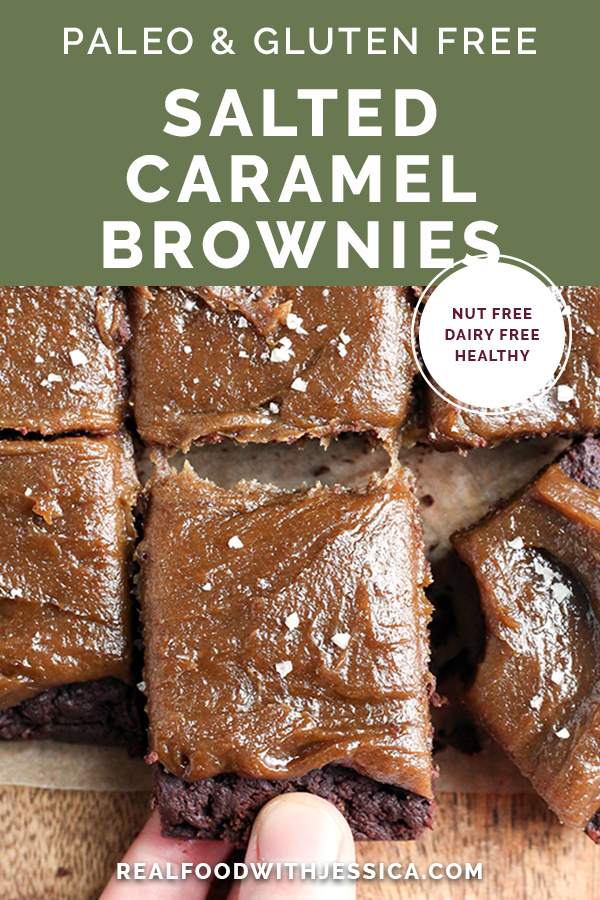 These Paleo Salted Caramel Brownies are a rich treat that everyone will love! A simple, fudgy brownie topped with a thick layer of dairy free caramel. They are nut free, gluten free, dairy free, and naturally sweetened.
