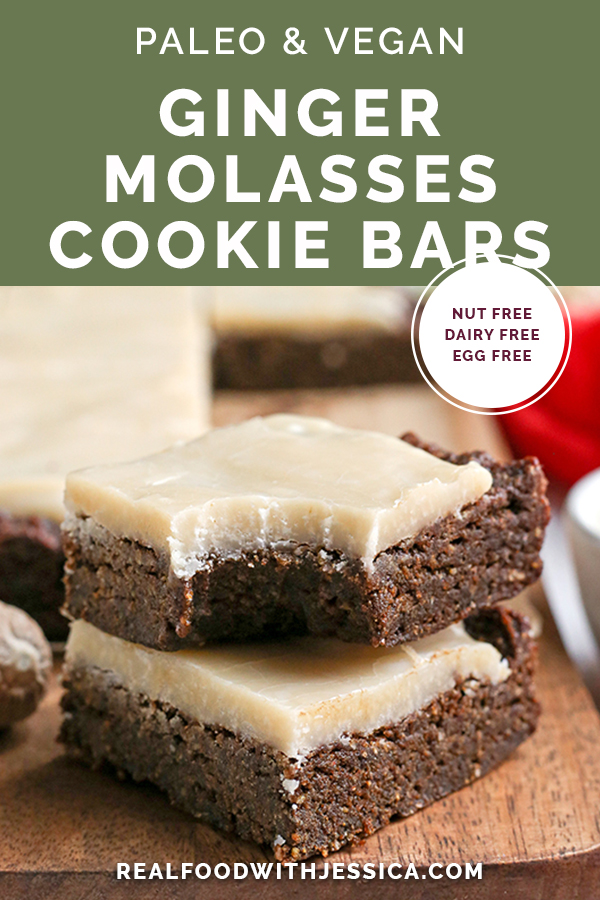 These Paleo Vegan Ginger Molasses Cookie Bars are simple to make and so flavorful. Rich, chewy and sweet while being nut free, gluten free, dairy free with an egg free and vegan option.