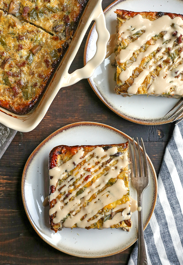 This Paleo Whole30 Philly Cheesesteak Breakfast Casserole is a hearty dish that is packed with veggies and flavor. It's gluten free, dairy free, and sugar free.