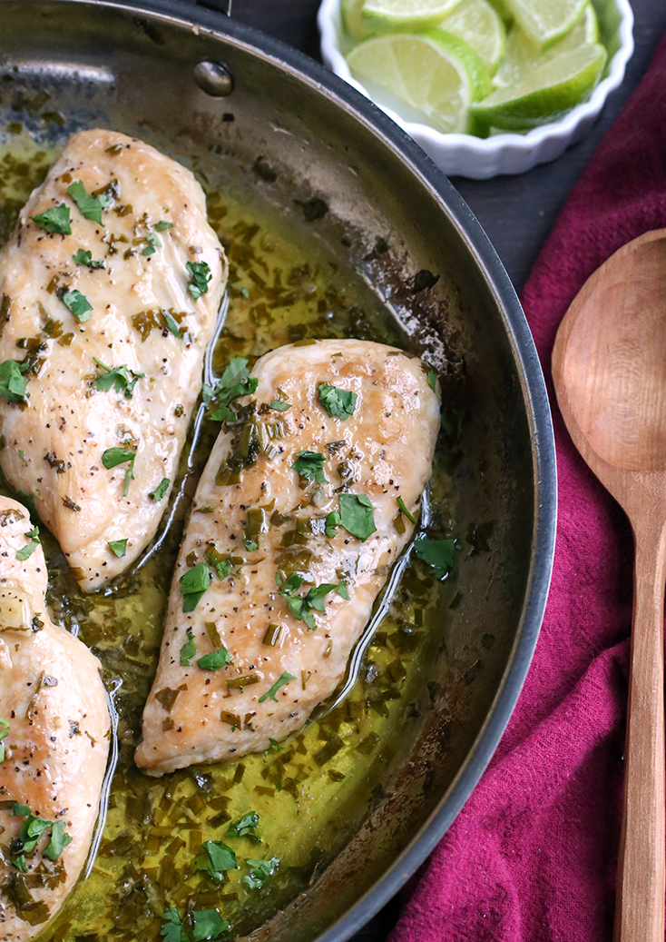 This Paleo Whole30 Skillet Cilantro Lime Chicken is quick to make and very delicious. It's gluten free, dairy free, low carb and low FODMAP.