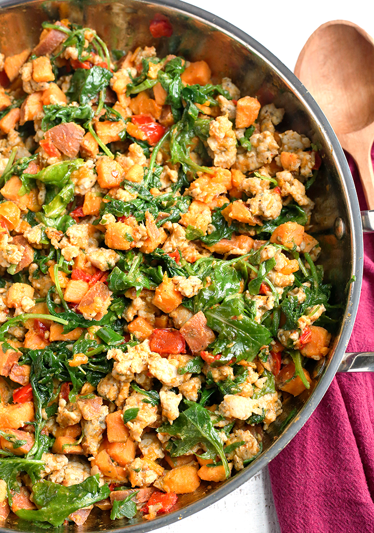 This Paleo Whole30 Sweet Potato Sausage Hash is a great egg-free breakfast. A filling meal that is gluten free, dairy free, and low FODMAP.