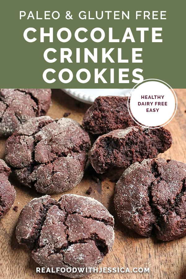 These Paleo Chocolate Crinkle Cookies are rich, thick and so delicious! Gluten free, dairy free, and naturally sweetened.