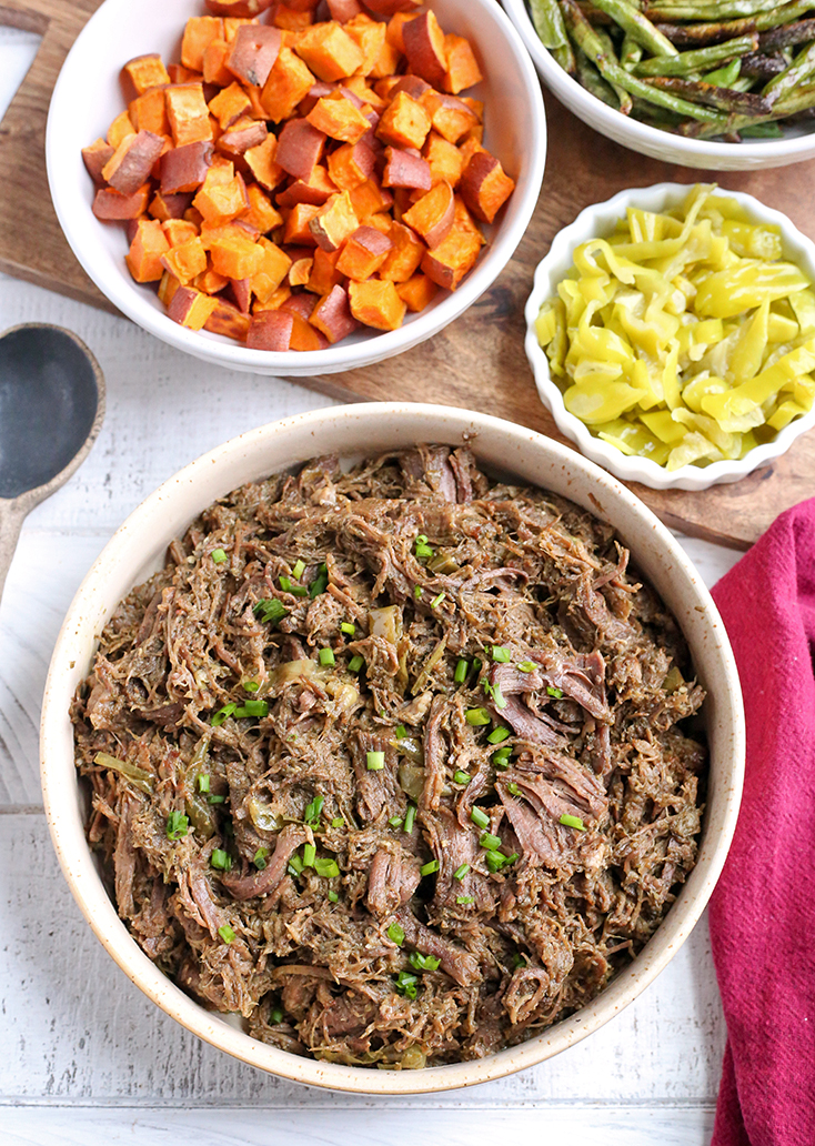 This Paleo Whole30 Mississippi Roast is flavorful, tender, and delicious. Gluten free, dairy free, low carb with a low FODMAP option.