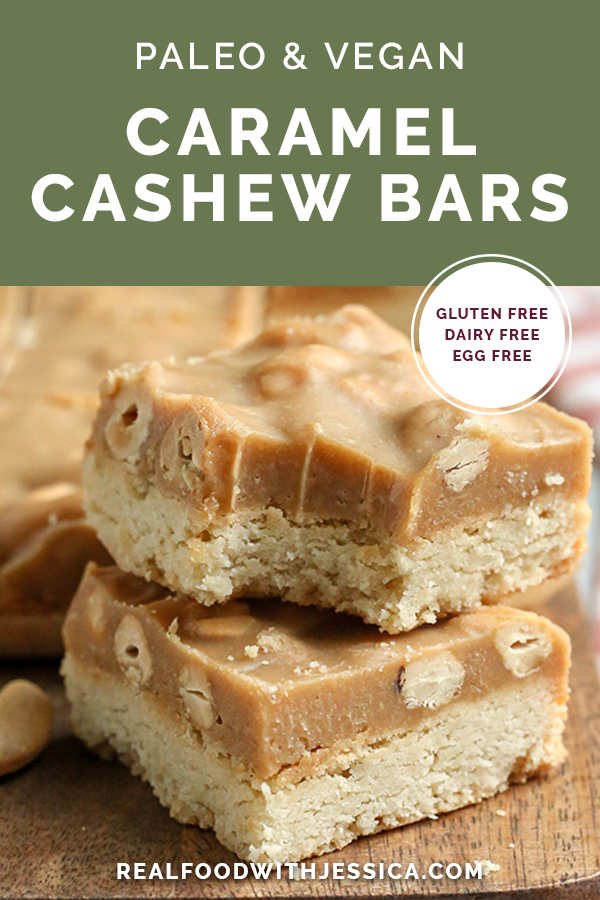 These Paleo Caramel Cashew Bars are easy to make, rich, and so good! A shortbread layer topped with a fudge-like layer that is sweet and packed with buttery cashews. They are gluten free, dairy free, vegan, and naturally sweetened.