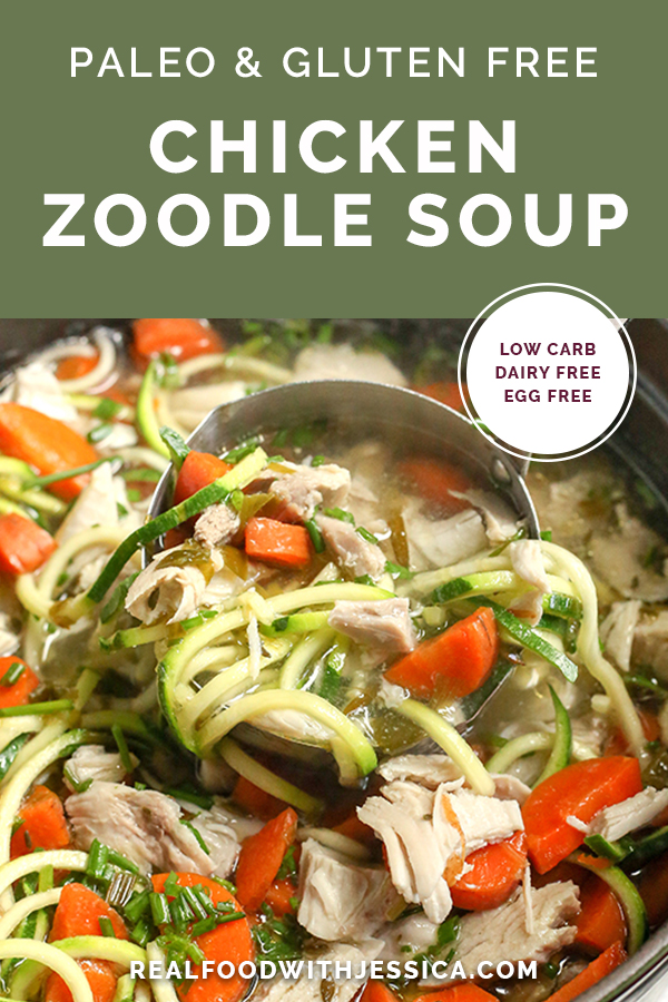 This Paleo Whole30 Chicken Zoodle Soup is just as good as the classic, made healthier. A satisfying soup that is gluten free, dairy free, low carb and low FODMAP.
