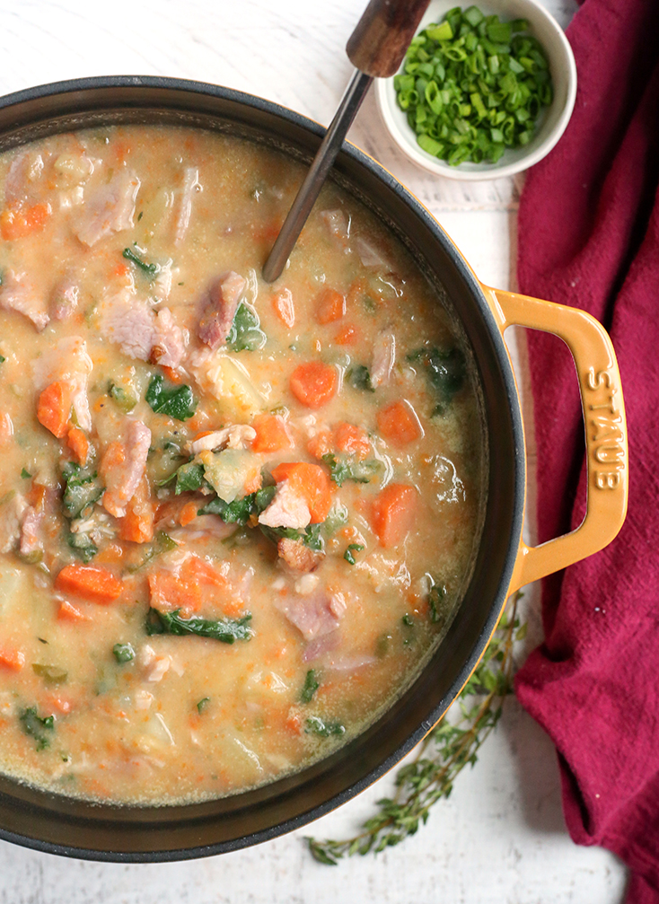 ham and potato soup in a pot