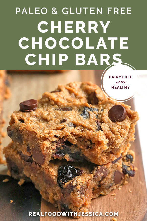 cherry chocolate chip bars. Grain free and naturally sweetened. With text.