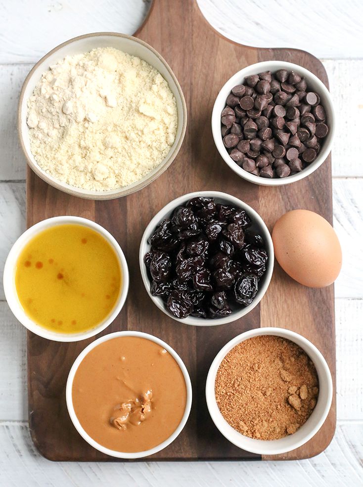 all the ingredients laid out for the paleo cherry chocolate chip bars.
