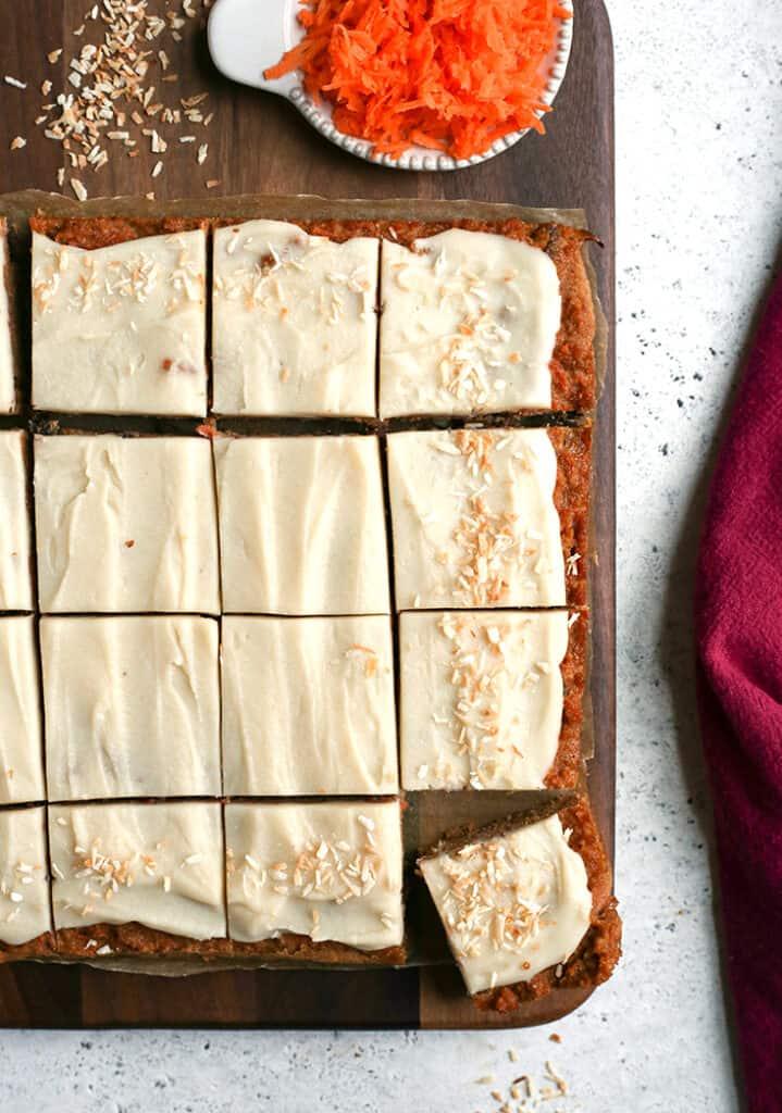 nut free carrot cake bars, sliced, overhead shot