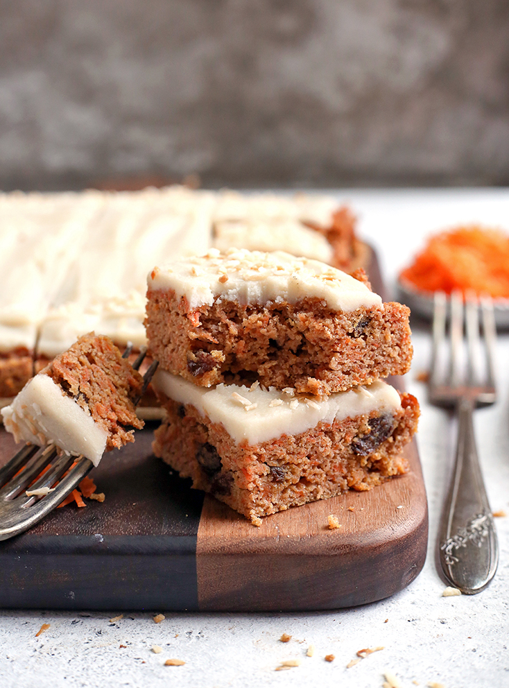nut free carrot cake bars, stacked
