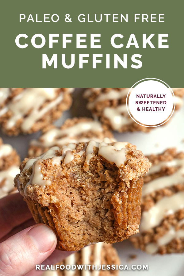 paleo coffee cake muffins with text