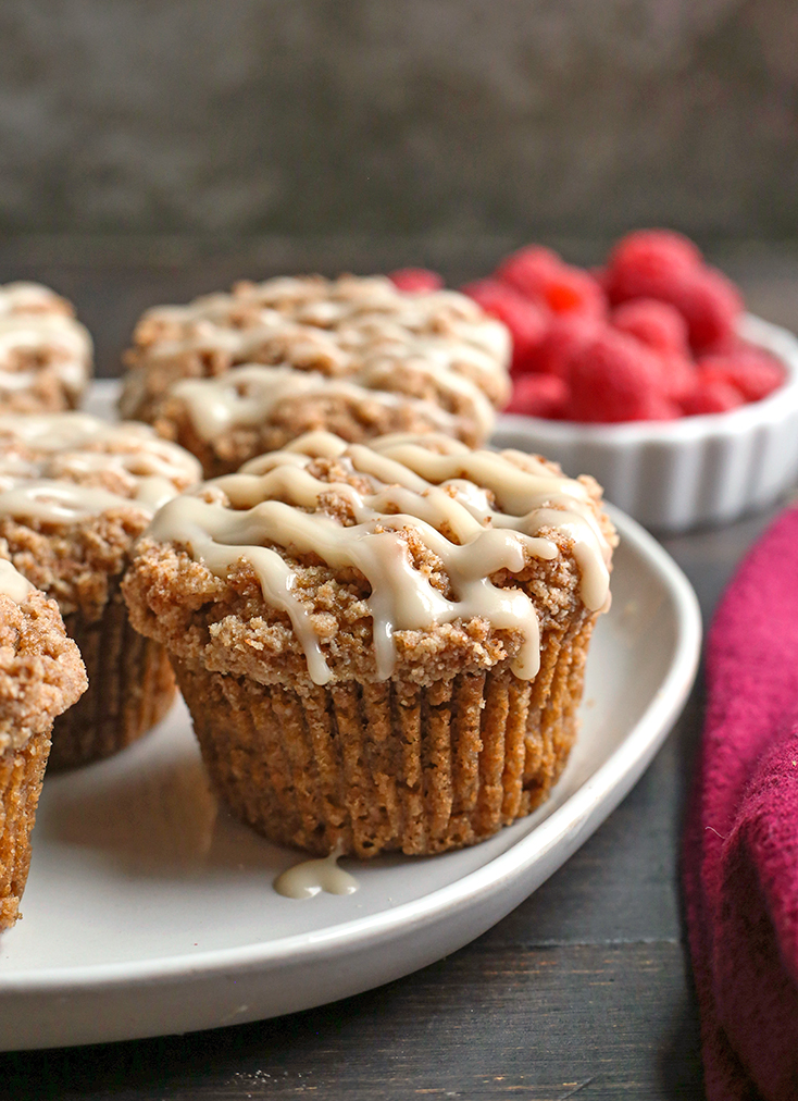 paleo coffee cake muffins on a plate, close up shot