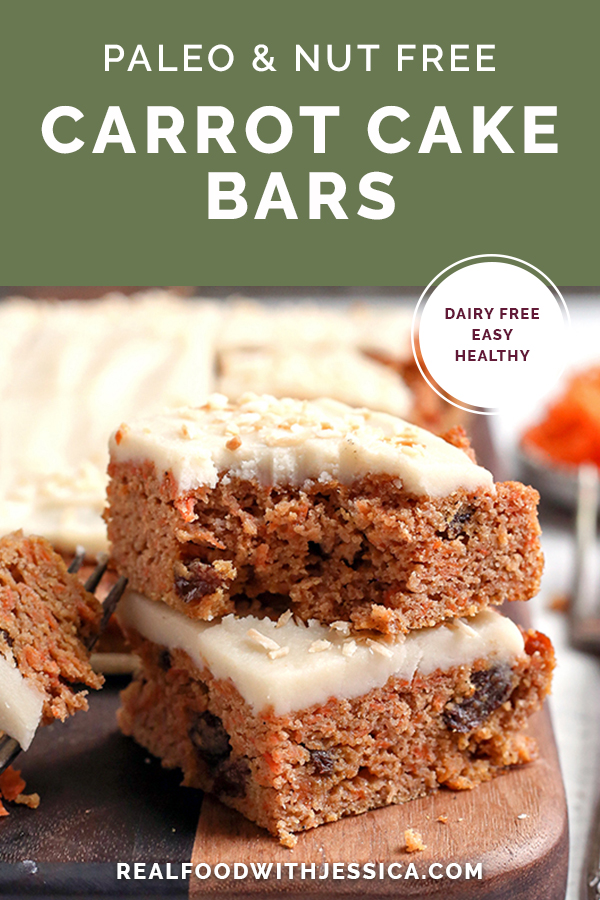 paleo nut free carrot cake bars, with text