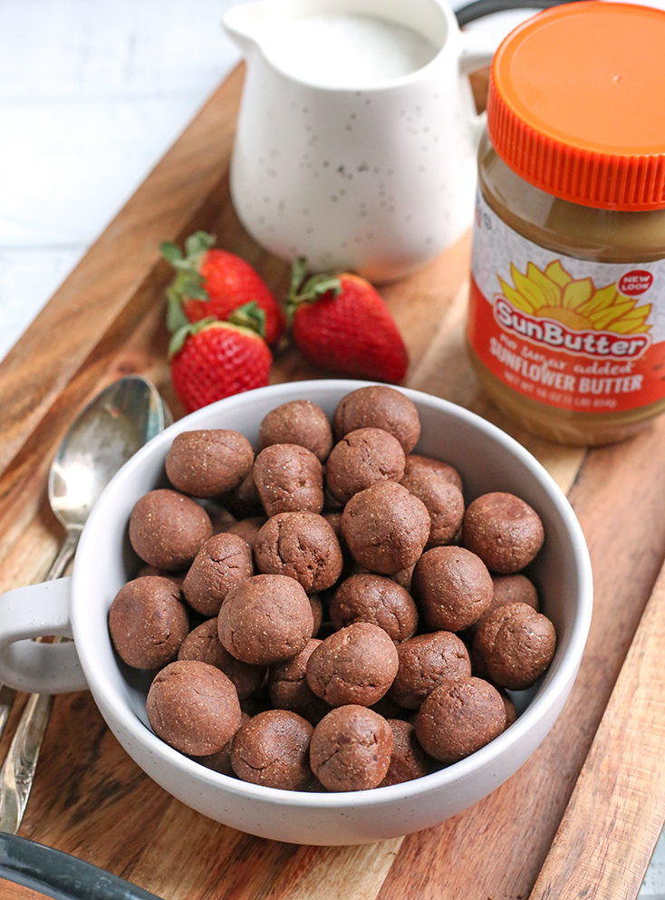 paleo nut free cocoa puffs in a bowl