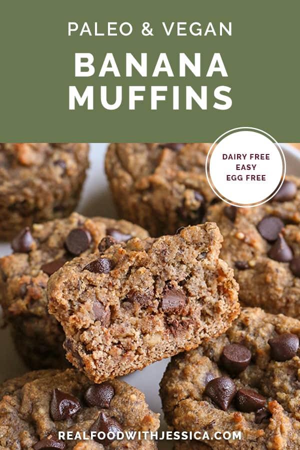 paleo vegan banana muffins with text