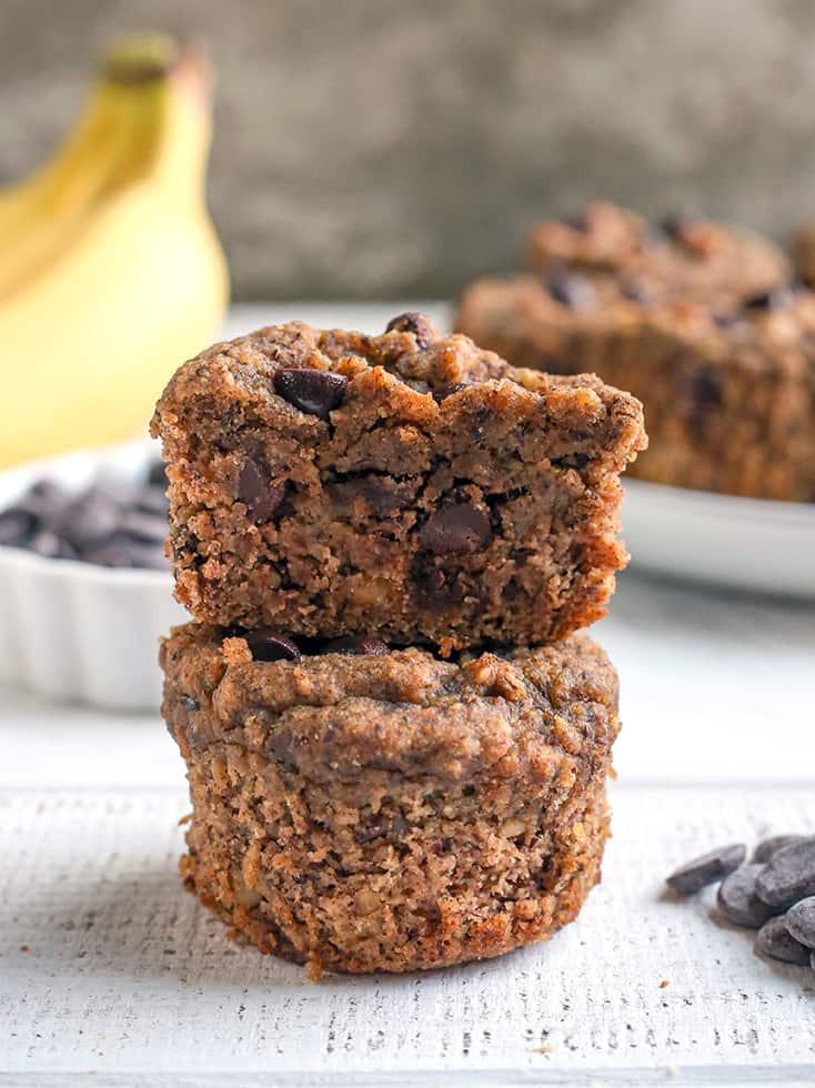 a stack of two vegan paleo banana muffins