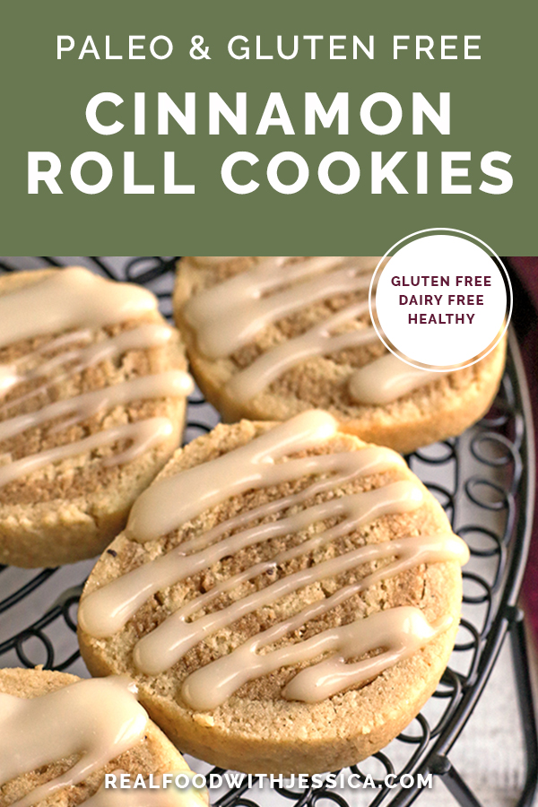paleo cinnamon roll cookies with text
