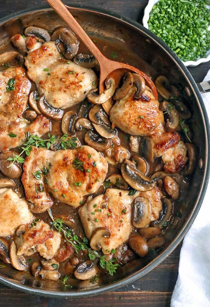 paleo creamy mushroom chicken in a pan