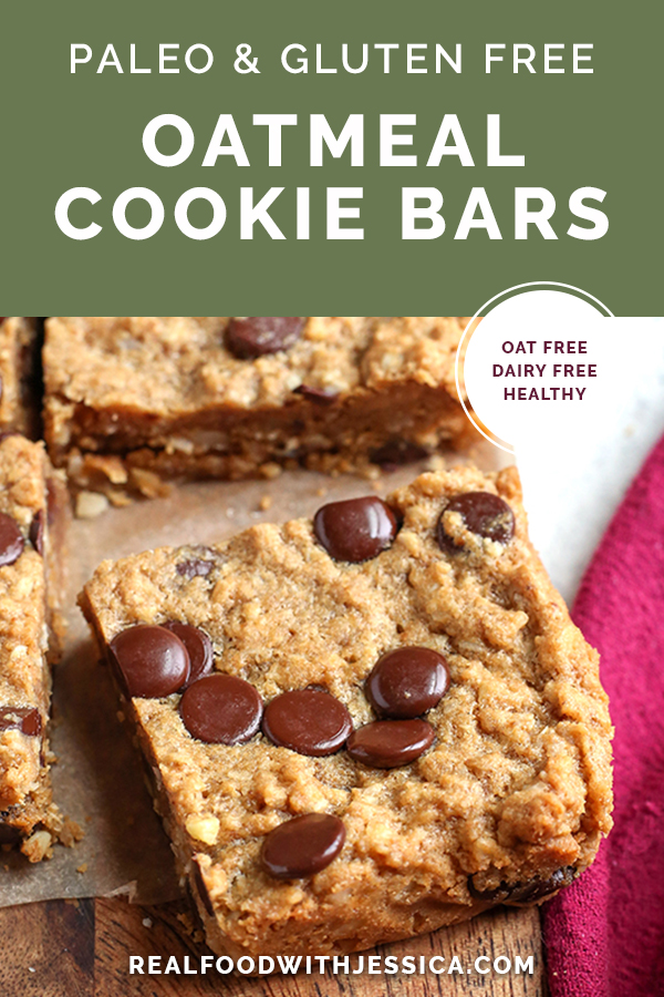 paleo oatmeal cookie bars with text