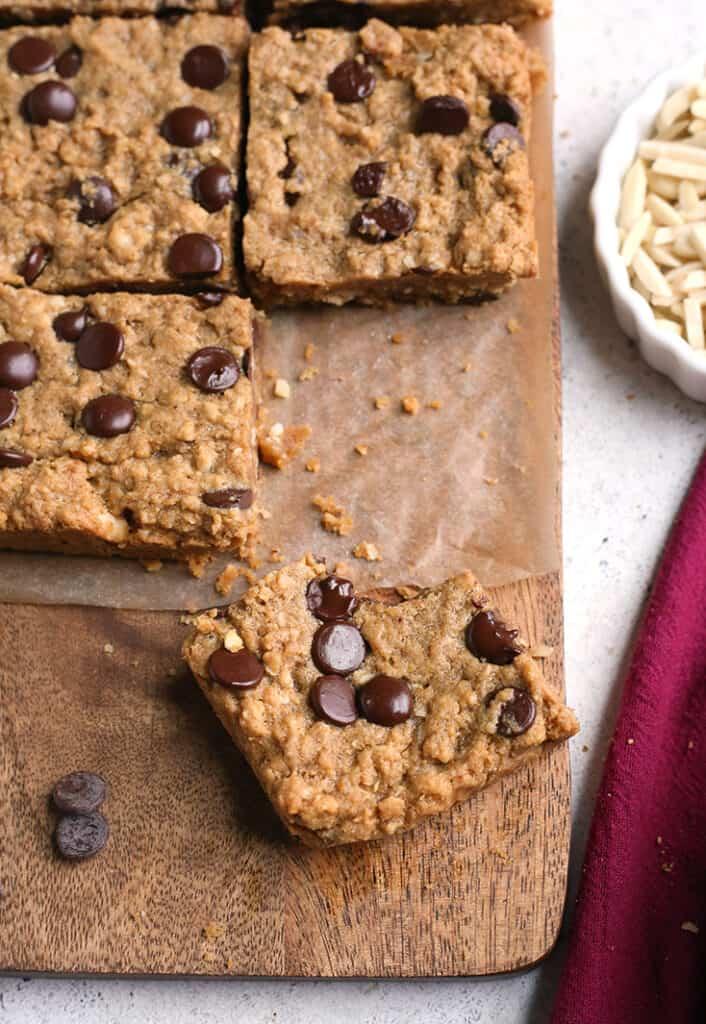 paleo oatmeal cookie bars on a cutting board