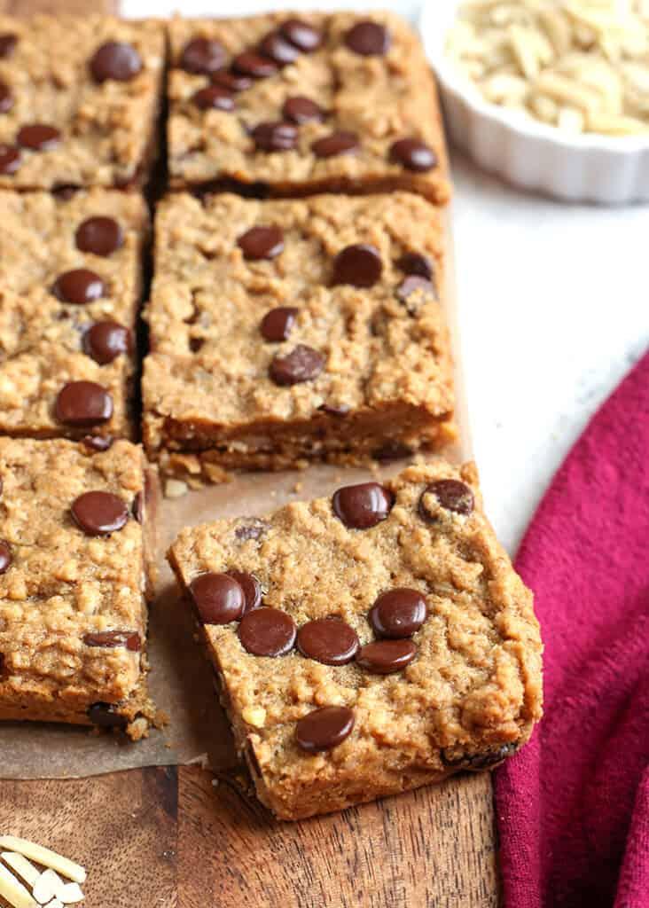 oatmeal cookie bars on a cutting board