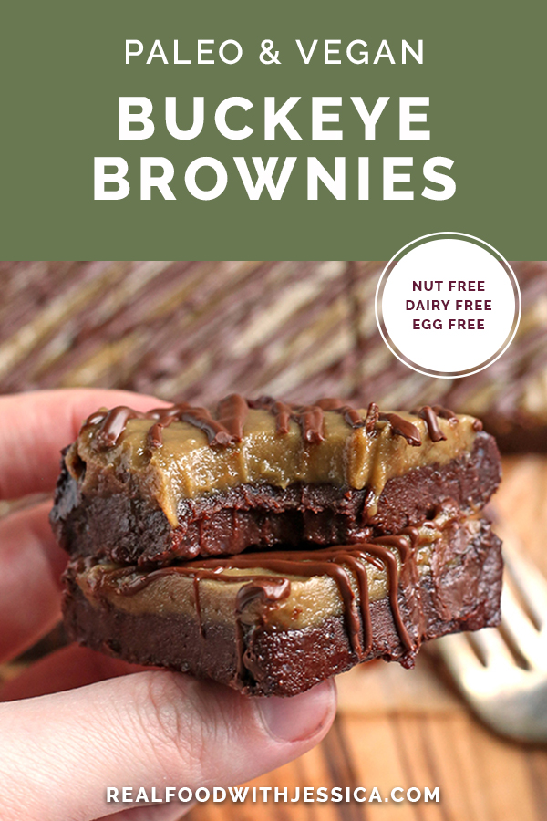 hand holding two paleo vegan buckeye brownies with text overlay
