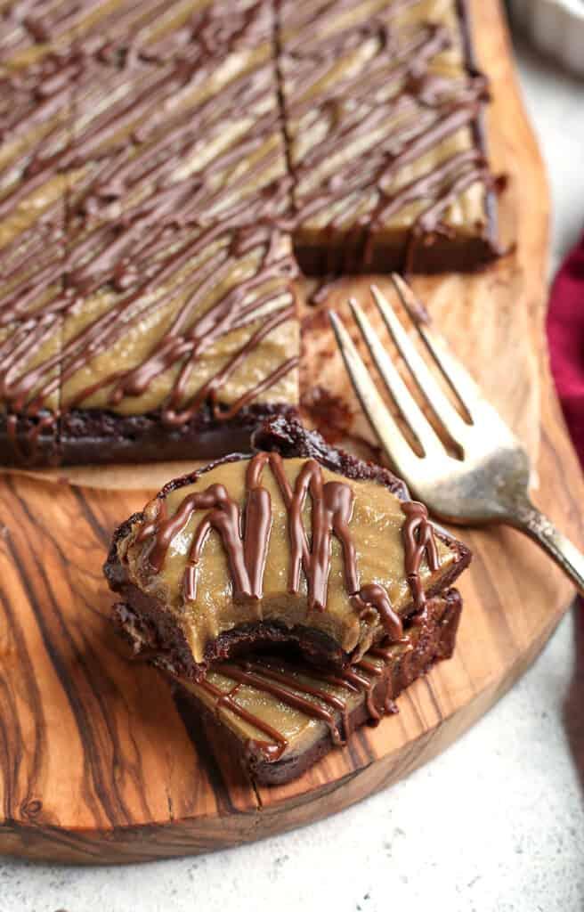 close shot of a stack of paleo vegan buckeye brownies
