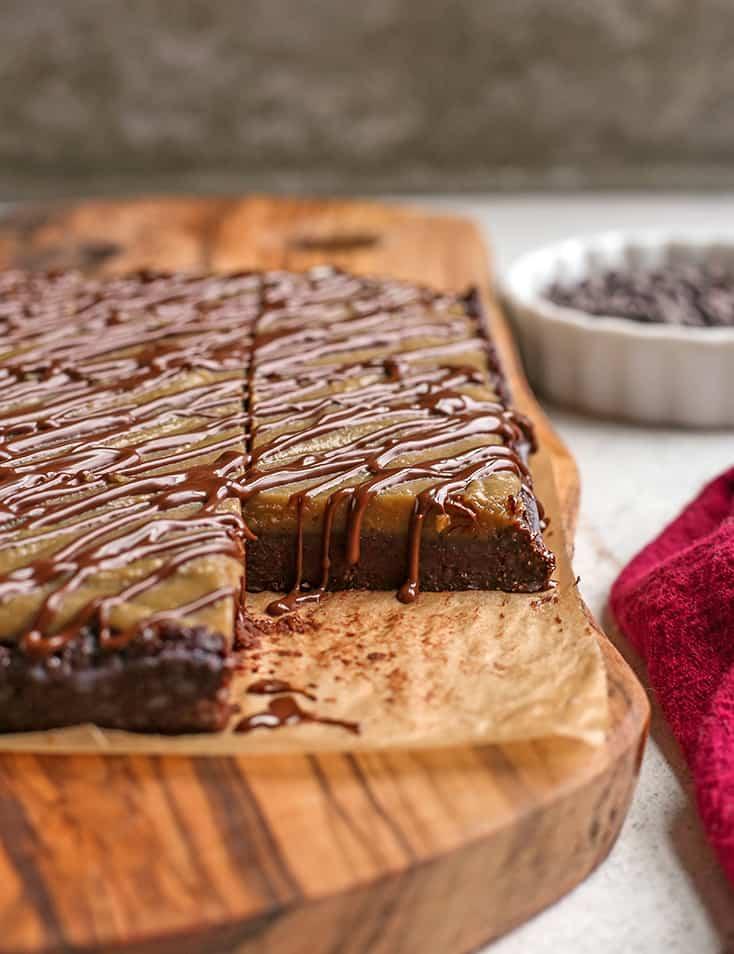 inside view of paleo vegan buckeye brownies