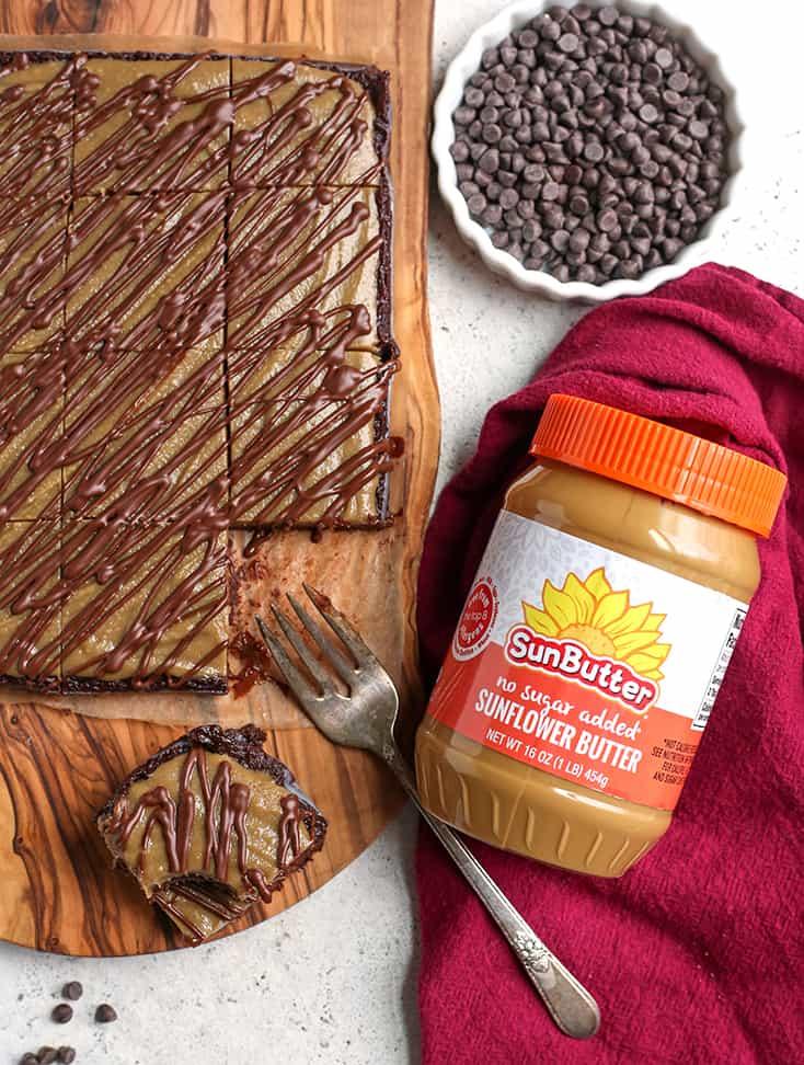 top view of vegan buckeye brownies on a cutting board