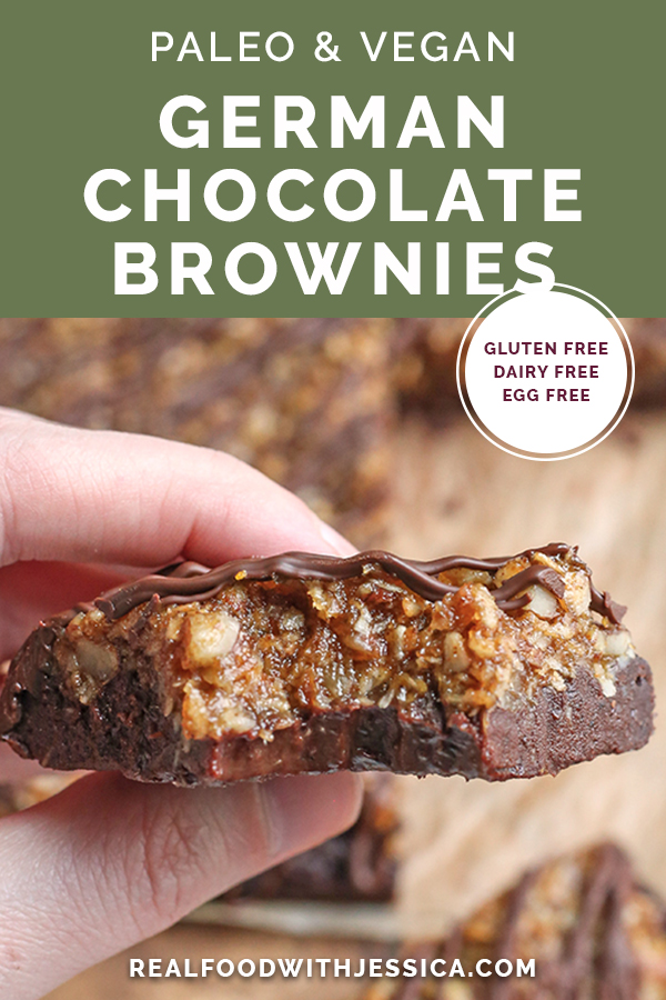 paleo vegan german chocolate brownies with text