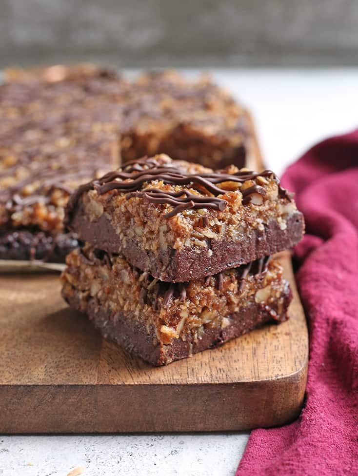 stack of two vegan paleo german chocolate brownies