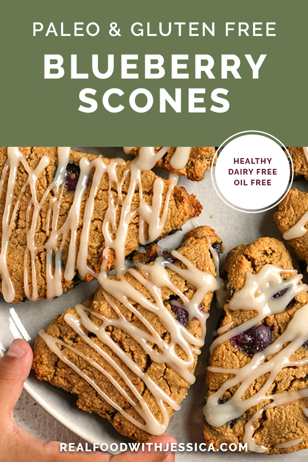 paleo blueberry scones with text