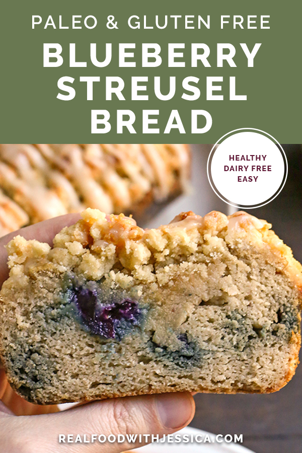 blueberry streusel bread with text